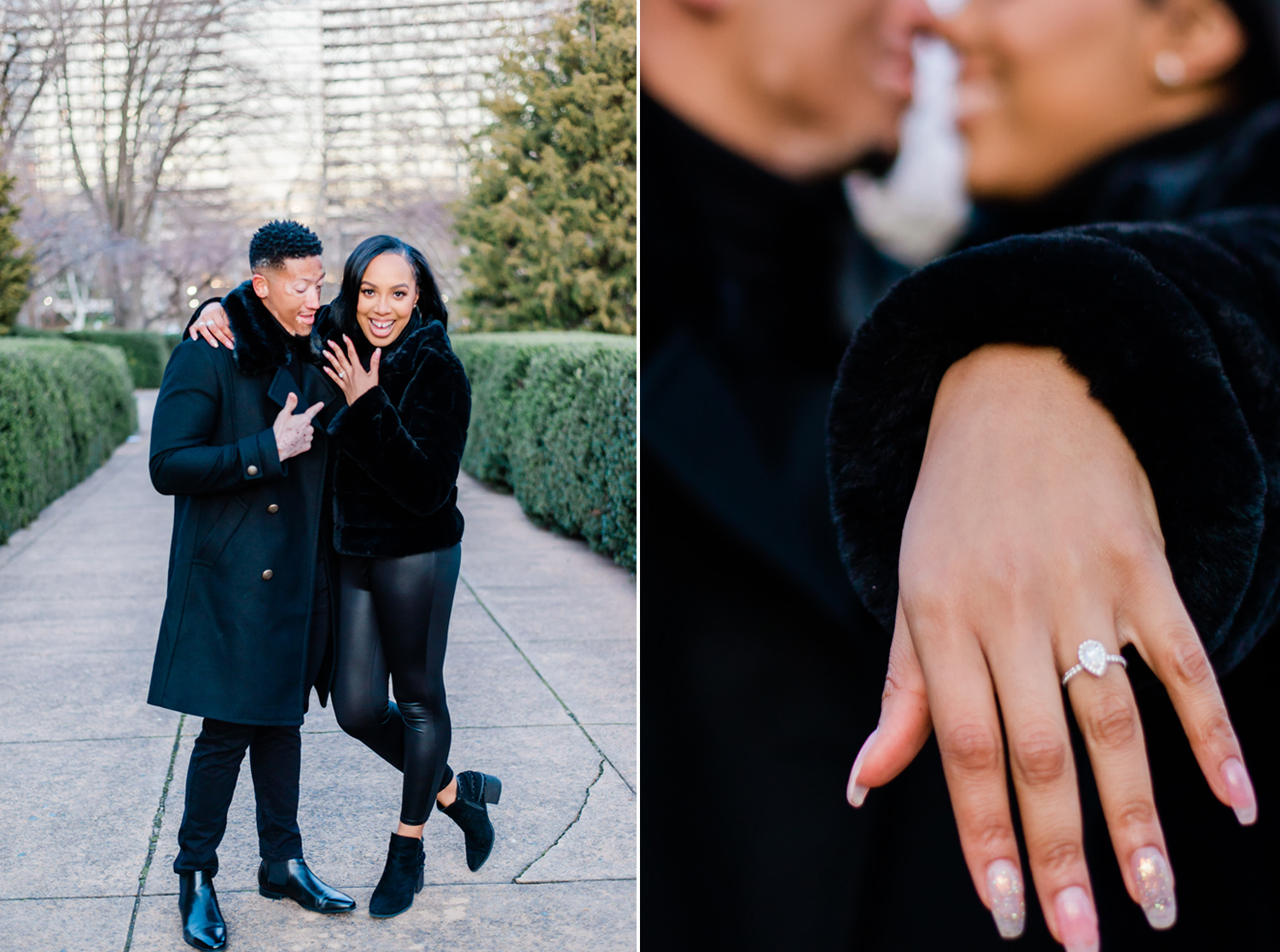 Black woman shows off engagement ring. Black man on left admires and points to her ring. On right side, couple is snuggling noses while Black woman has ring towards camera. By Tonjanika Smith Photography