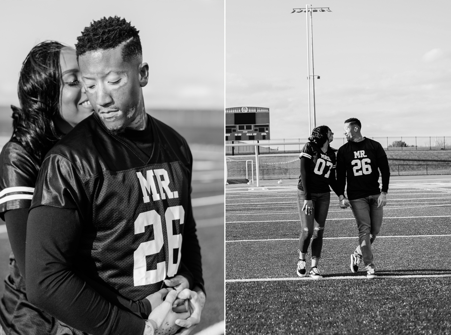 Black couple walking football field with 07 and 26 on front of jerseys. By Tonjanika Smith Photography