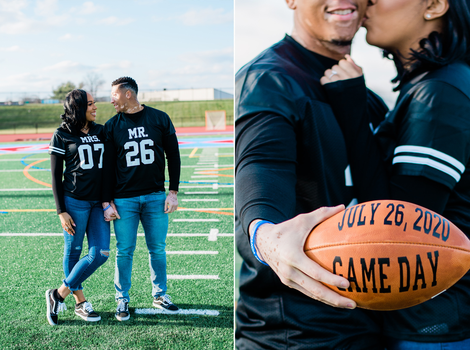 Left side, Black woman and Black man - a couple, are smiling at each other in coordinating jerseys. Right side, Black woman kisses Black man while he holds a football with Game Day and July 26, 2020 on it.  By Tonjanika Smith Photography